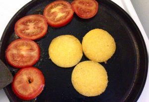 Polenta and Tomato in pan