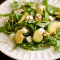 Arugula, Watercress, Avocado and Goat Cheese Salad with Pomegranate Molasses