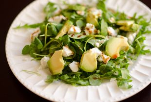 Arugula, Watercress, Avocado and Goat Cheese Salad with Pomegranate Molasses